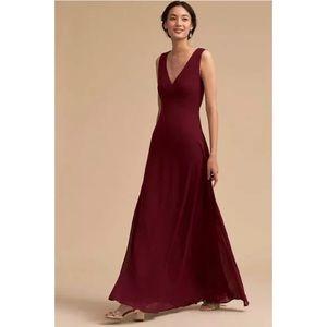 Capulet Dress Burgundy Bridesmaid V-Neck Maxi Gown